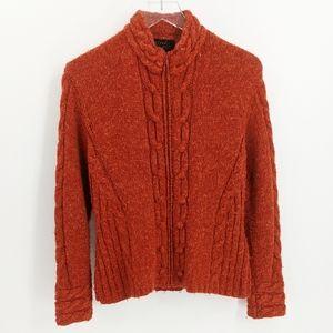 Icelandic Designs Orange Cable Knit Zip Cardigan